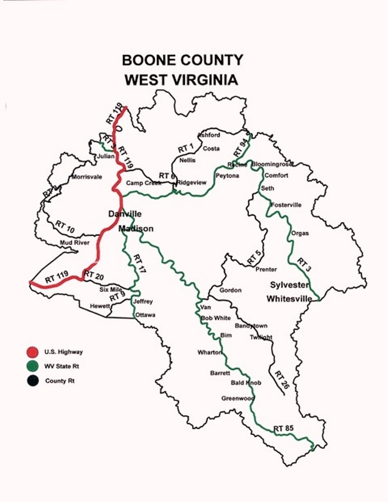 Directions Boone County Community And Economic Development Corp - Wv map with cities and counties